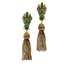 "Heidi Daus ""Divine Dragon"" Crystal Tassel Drop Earrings"