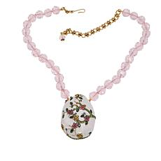 "Heidi Daus ""Egg-stra Special"" Crystal and Enamel Drop Necklace"
