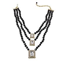 "Heidi Daus ""Estate Splendor"" 3-Strand Beaded Crystal Drop Necklace"