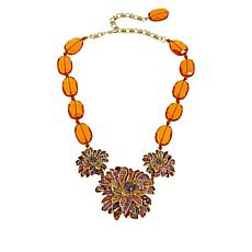 "Heidi Daus ""Fabulous Fall Floral"" Beaded Crystal Drop Necklace"