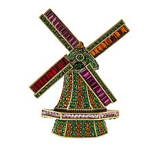 "Heidi Daus ""Going Dutch"" Crystal Windmill Pin"
