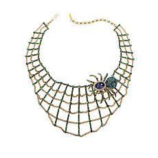 "Heidi Daus ""Heidi's Web"" Necklace and Spider Pin 2-piece Jewelry Set"
