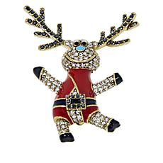 "Heidi Daus ""Jump For Joy"" Enamel and Crystal Reindeer Pin"