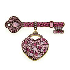 "Heidi Daus ""Key to my Heart"" Crystal-Accented Drop Pin"