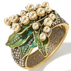 "Heidi Daus ""Lily of the Valley"" Crystal and Enamel Bangle Bracelet"