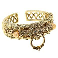 Heidi Daus Lion Doorknocker Crystal & Simulated Pearl Hinged Cuff