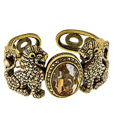 "Heidi Daus ""Lion Royalty"" Crystal Hinged Cuff Bracelet"