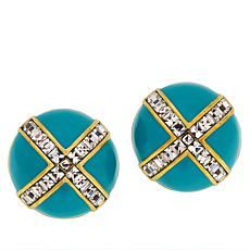 "Heidi Daus ""Madison & 68th"" Enamel and Crystal Stud Earrings"