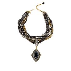 """Heidi Daus """"Marquise of Chic"""" Crystal Pendant with Beaded Necklace"""