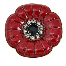 "Heidi Daus ""Memorial Poppy"" Enamel and Crystal Pin"