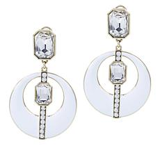 "Heidi Daus ""Mod Revival"" Crystal and Enamel Drop Earrings"