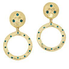 "Heidi Daus ""New Wave"" Goldtone Crystal-Accented Circle Drop Earrings"