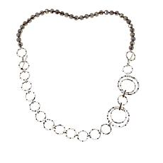 """Heidi Daus """"New Wave"""" Silvertone Bead and Chain Convertible Necklace"""
