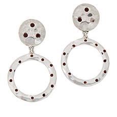 "Heidi Daus ""New Wave"" Silvertone Crystal-Accented Circle Drop Earrings"