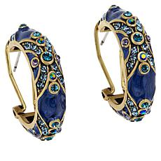 "Heidi Daus ""Newport Chic II"" Enamel and Crystal Hoop Earrings"