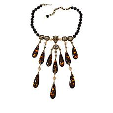 "Heidi Daus ""On the Prowl"" Crystal Dangle Beaded Necklace"