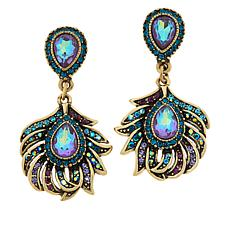 "Heidi Daus ""Pretty As a Peacock"" Crystal-Accented Drop Earrings"