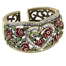 "Heidi Daus ""Queen of Hearts"" Crystal Hinged Cuff Bracelet"