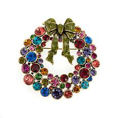"Heidi Daus ""Ravishing Wreath"" Enamel and Crystal Pin"