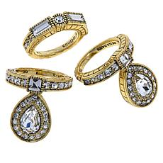 "Heidi Daus ""Rings of Royalty"" 3-piece Crystal Ring Set"