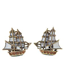 "Heidi Daus ""Royal Clipper"" Enamel and Crystal Earrings"