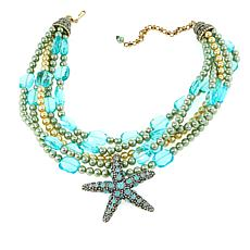 "Heidi Daus ""Sea-ing Stars"" Multi-Strand Beaded Crystal Drop Necklace"