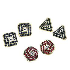 "Heidi Daus ""Stunning Studs"" Set of 3 Pavé Crystal Earrings"