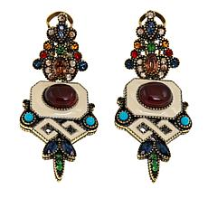 "Heidi Daus ""Stunningly Shelly"" Enamel and Crystal Drop Earrings"