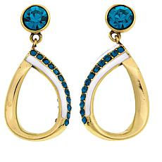 "Heidi Daus ""Summer Breeze"" Crystal and Enamel Drop Earrings"