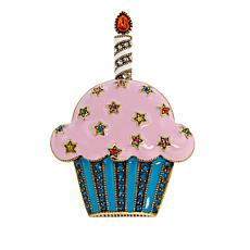 "Heidi Daus ""Sweet Treat"" Crystal and Enamel Cupcake Pin"