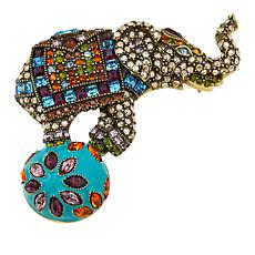 "Heidi Daus ""Top of the World"" Enamel and Crystal Pin"