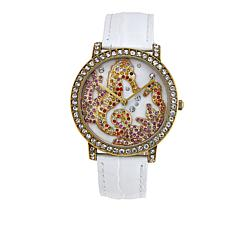 "Heidi Daus ""Water Folly"" Crystal Bezel Leather Strap Watch"