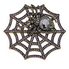 "Heidi Daus ""Web Sales"" Crystal-Accented Spider Web Pin"