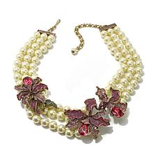 "Heidi Daus ""Wild Orchid"" 3-Row Simulated Pearl Necklace"