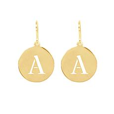 Heights Jewelers Gold-Plated Personalized Initial Disc Drop Earrings