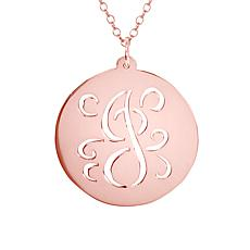 Heights Jewelers Gold-Plated Script Initial Disc Pendant Necklace