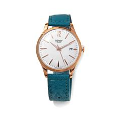 """Henry London """"Stratford"""" White Dial Leather Strap Watch"""