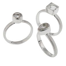"Herkimer Mines 2.75ctw Herkimer ""Diamond"" Quartz 3-piece Ring Set"