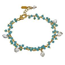 "Herkimer Mines Colored Gemstone and Herkimer ""Diamond"" Quartz Bracelet"