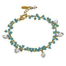 "Herkimer Mines Colored Gemstone and Herkimer ""Diamond"" Quartz Bracelet"