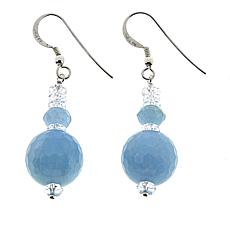 "Herkimer Mines ""Diamond"" Quartz & Aquamarine Bead Earrings"