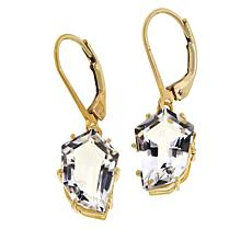 "Herkimer Mines ""Diamond"" Quartz Faceted Slice Drop Earrings"