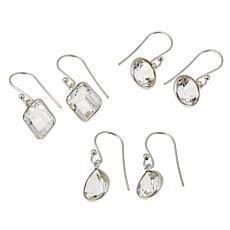 "Herkimer Mines Faceted Herkimer ""Diamond"" Quartz 3-piece Earring Set"