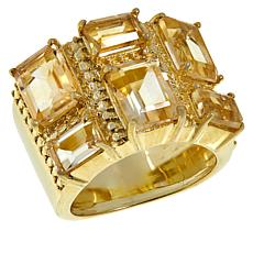 "Herkimer Mines Gold-Tone Canary Yellow ""Diamond"" Quartz Band Ring"