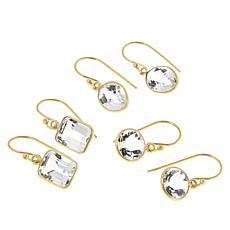 "Herkimer Mines Sterling Silver ""Diamond"" Quartz Set of 3 Drop Earrings"