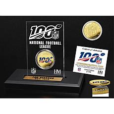 Highland Mint NFL 100th Season Gold Color Coin Etched Acrylic Display