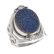 Himalayan Gems™ Blue Drusy and Moonstone  Ring