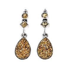 Himalayan Gems™ Goldtone Drusy and Citrine Earrings