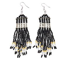 "Himalayan Gems™  ""Kinaara"" Black Bead Tassel Drop Earrings"