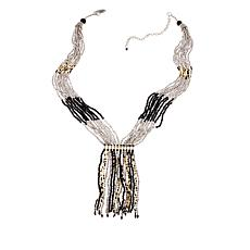 "Himalayan Gems™  ""Kinaara"" Black Potay Tassel 23"" Necklace"
